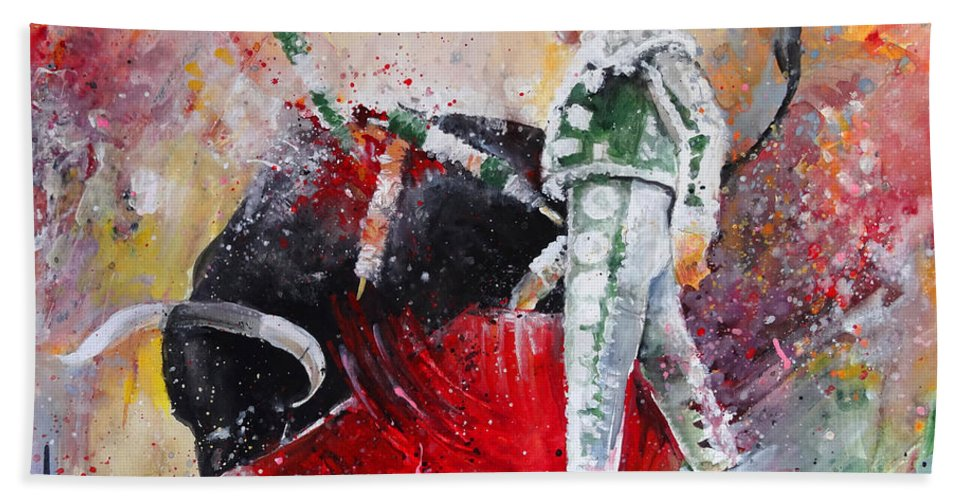 Animals Hand Towel featuring the painting Fireworks in The Bullring by Miki De Goodaboom