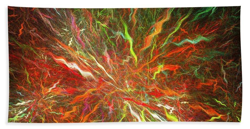 Apophysis Bath Sheet featuring the digital art Fireworks by Kim Sy Ok