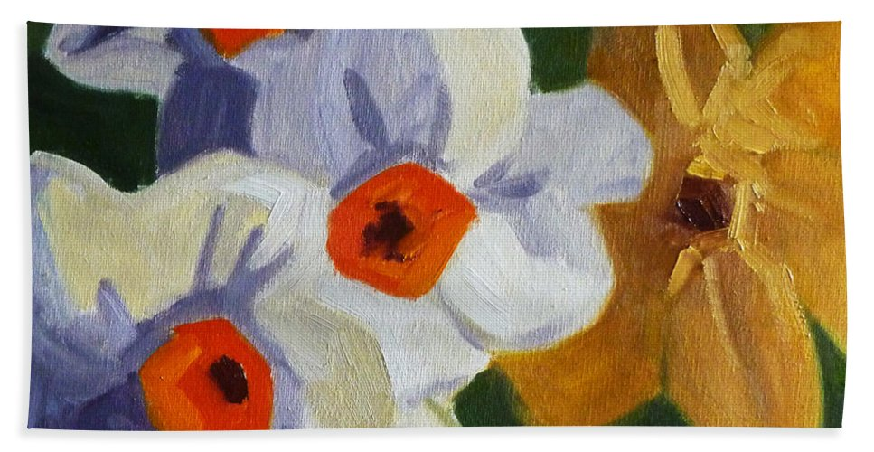 Oregon Hand Towel featuring the painting First Blooms by Nancy Merkle