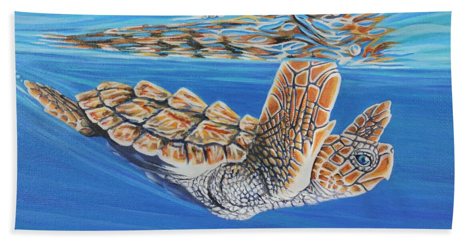 Ocean Hand Towel featuring the painting First Dive by Jane Girardot