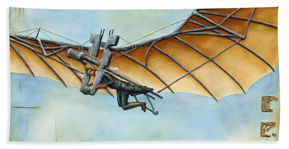 Steampunk Hand Towel featuring the painting First Flight by Carlo Allion