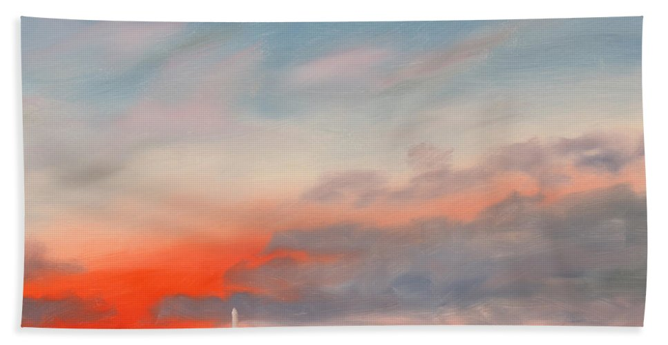 Skyscape Hand Towel featuring the painting Obama Inaugural Sunrise 1 by William Van Doren
