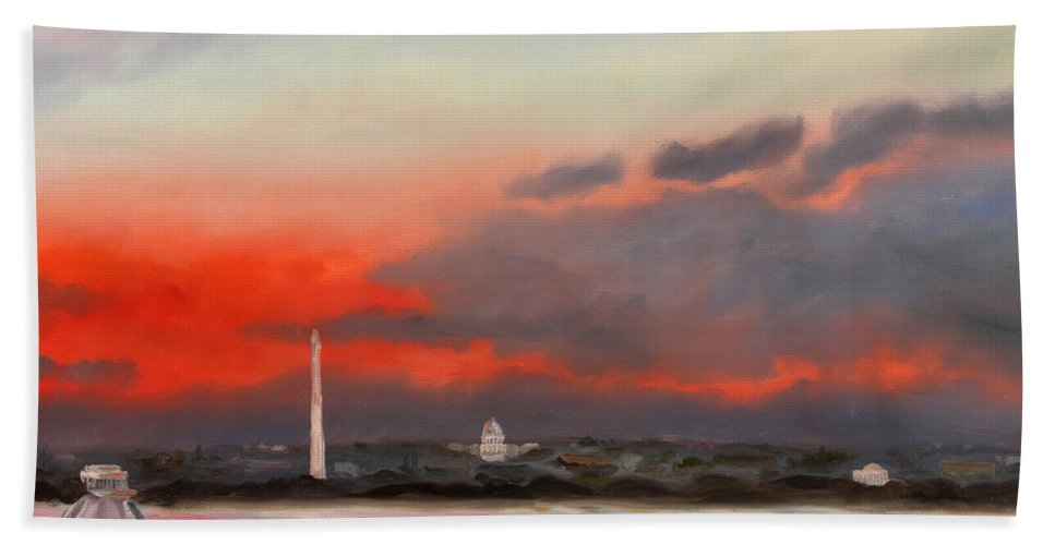 Skyscape Hand Towel featuring the painting Obama Inaugural Sunrise 2 by William Van Doren