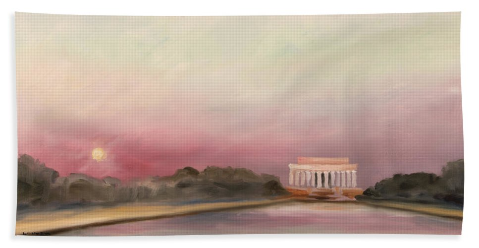 Skyscape Hand Towel featuring the painting Obama Inaugural Sunset by William Van Doren