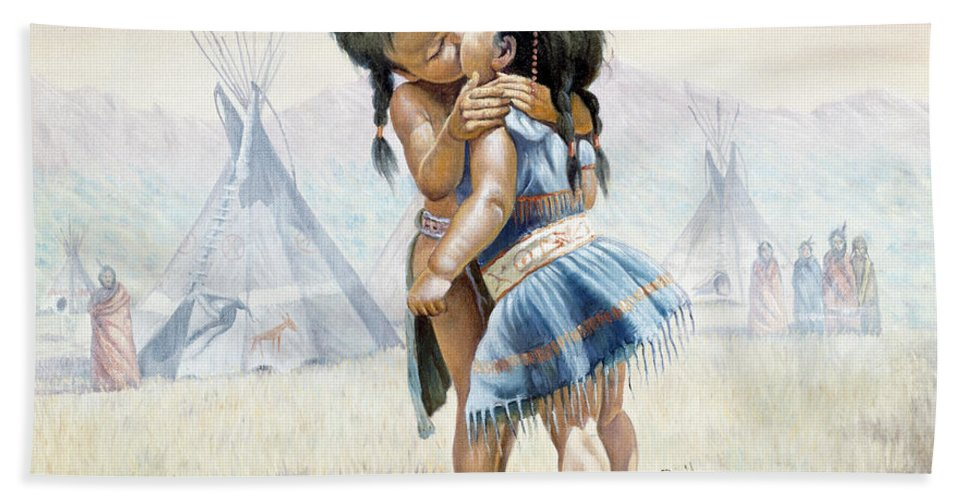 Gregory Perillo Bath Towel featuring the painting First Kiss by Gregory Perillo
