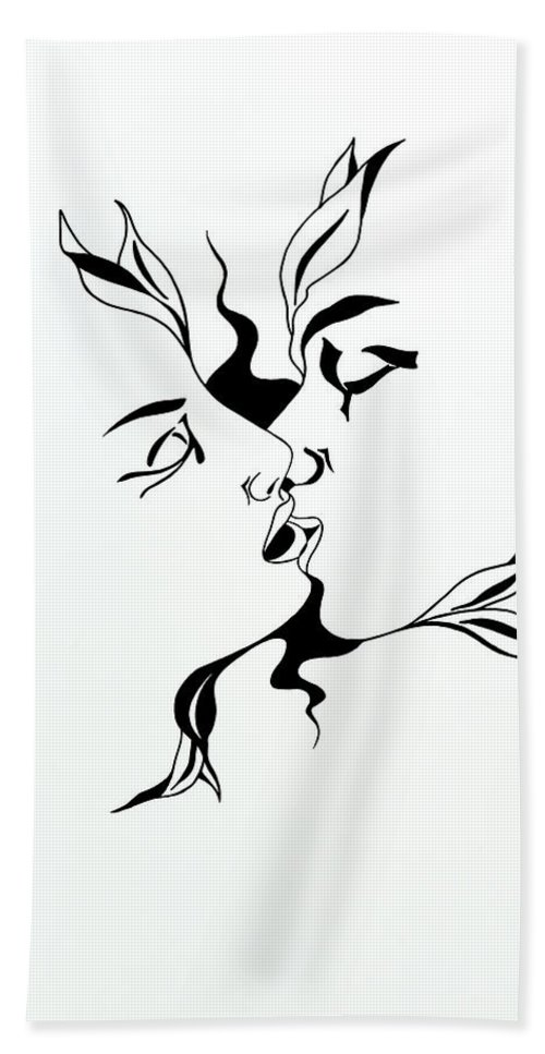 Love Hand Towel featuring the drawing First Kiss by Yelena Tylkina