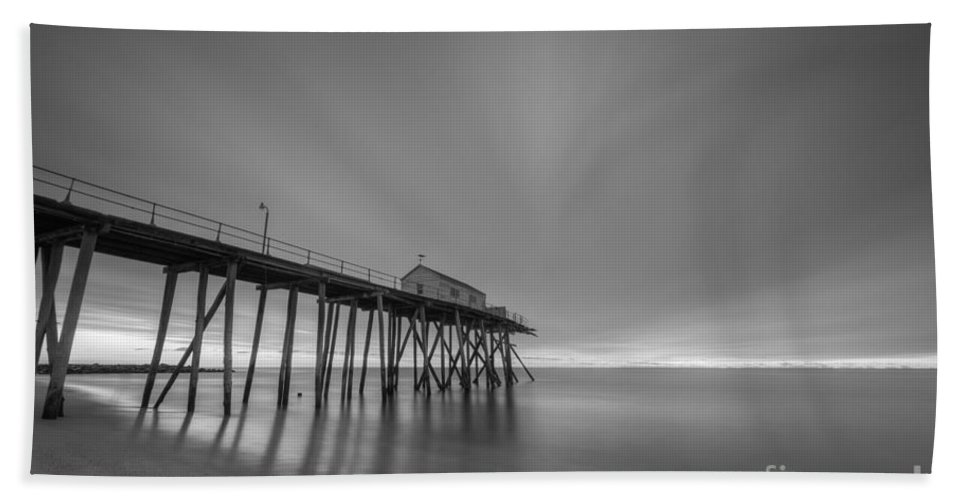 Fishing Pier Sunrise Hand Towel featuring the photograph First Light Bw by Michael Ver Sprill