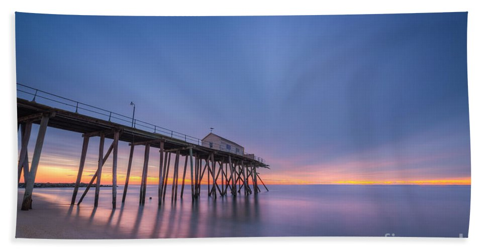 Fishing Pier Sunrise Hand Towel featuring the photograph First Light by Michael Ver Sprill