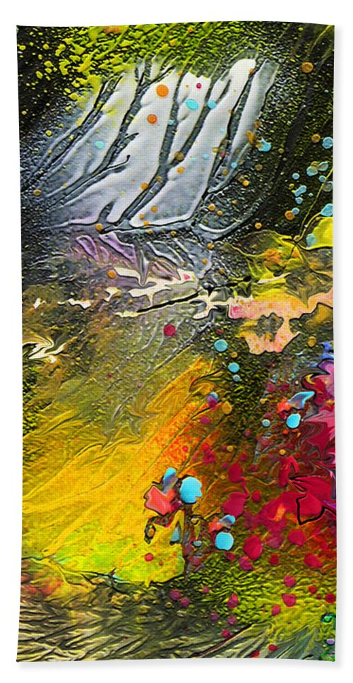 Miki Hand Towel featuring the painting First Light by Miki De Goodaboom