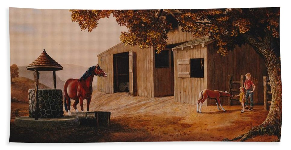 Farm Hand Towel featuring the painting First Meeting by Duane R Probus