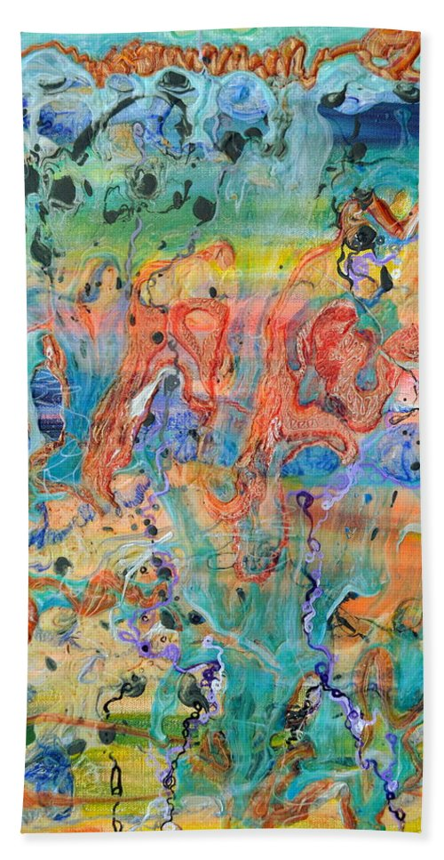 Big Bang Hand Towel featuring the painting First Microseconds by Regina Valluzzi