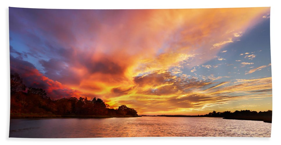 Sunset Hand Towel featuring the photograph First Of November by Jonathan Steele