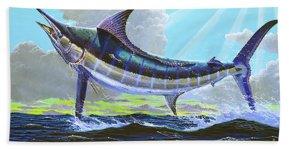 Marlin Bath Sheet featuring the painting First Run 00102 by Carey Chen