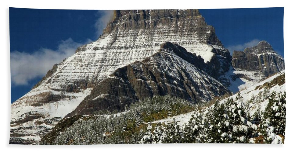 Mt Wilbur Hand Towel featuring the photograph First Snow At Mount Wilbur by Adam Jewell