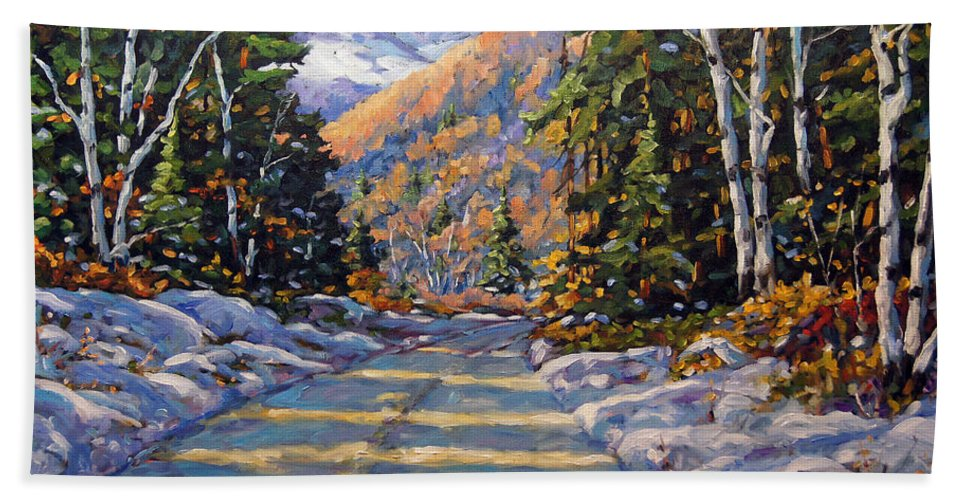 Quebec Bath Towel featuring the painting First Snow By Prankearts by Richard T Pranke