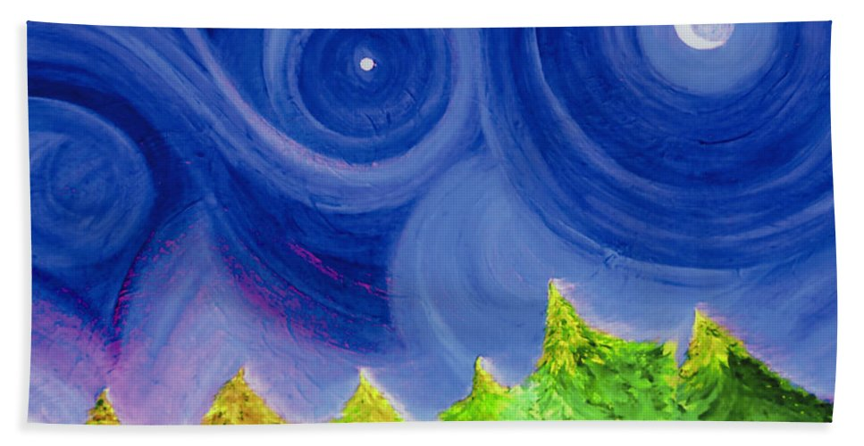 Trees Hand Towel featuring the painting First Star By Jrr by First Star Art