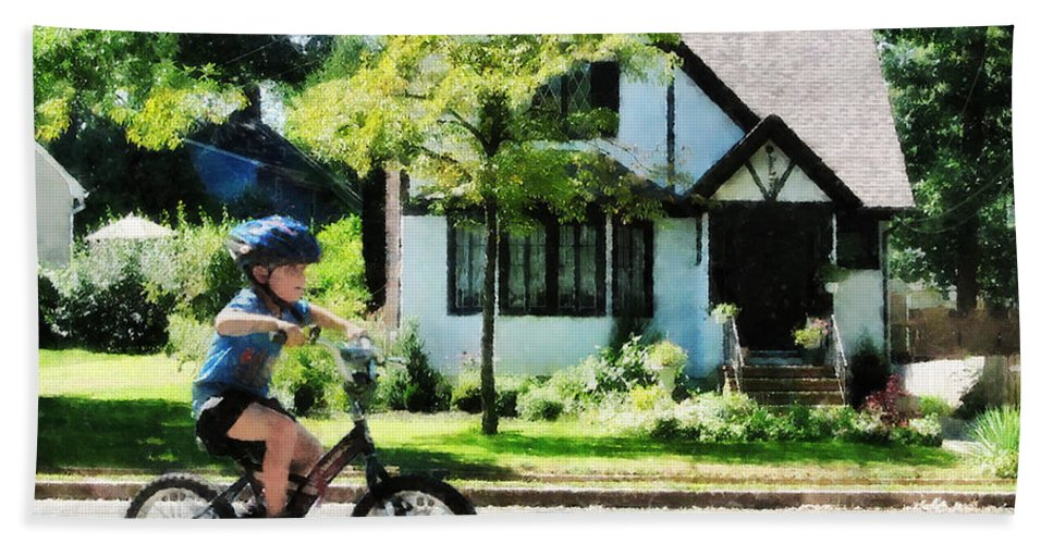 Outdoors Bath Sheet featuring the photograph First Two Wheeler by Susan Savad