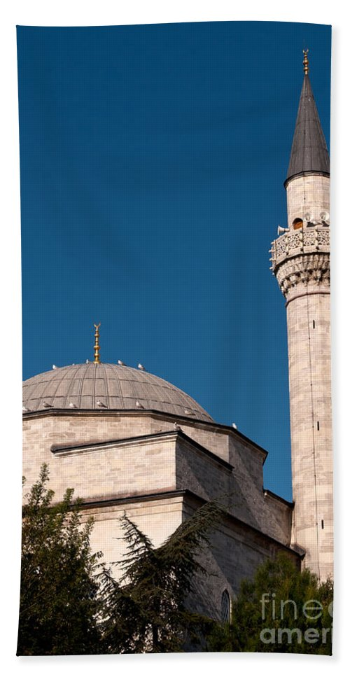 Istanbul Hand Towel featuring the photograph Firuz Aga Mosque by Rick Piper Photography