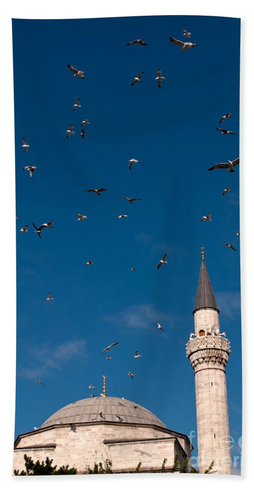 Istanbul Hand Towel featuring the photograph Firuz Aga Mosque Seagulls by Rick Piper Photography