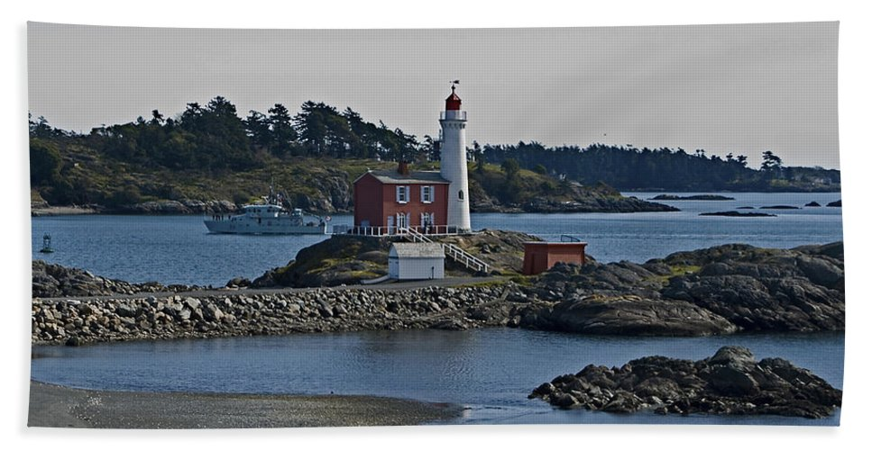 Lighthouse Bath Sheet featuring the photograph Fisgard Lighthouse British Columbia by Rob Mclean
