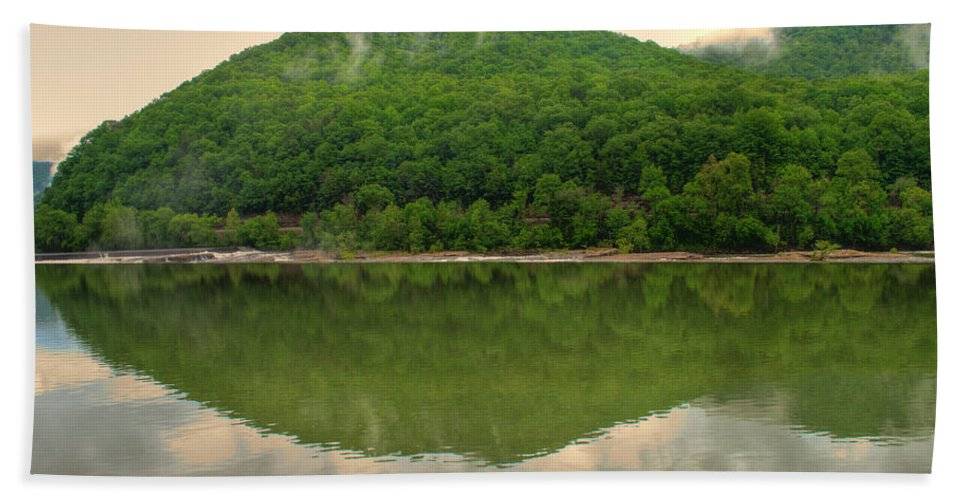 Feature Art Hand Towel featuring the photograph Fish Reflection Where The Kanawha Begins by Paulette B Wright