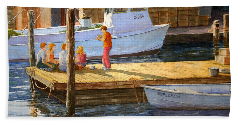 Boats Bath Sheet featuring the painting Fish Tales At Cortez by Roger Rockefeller