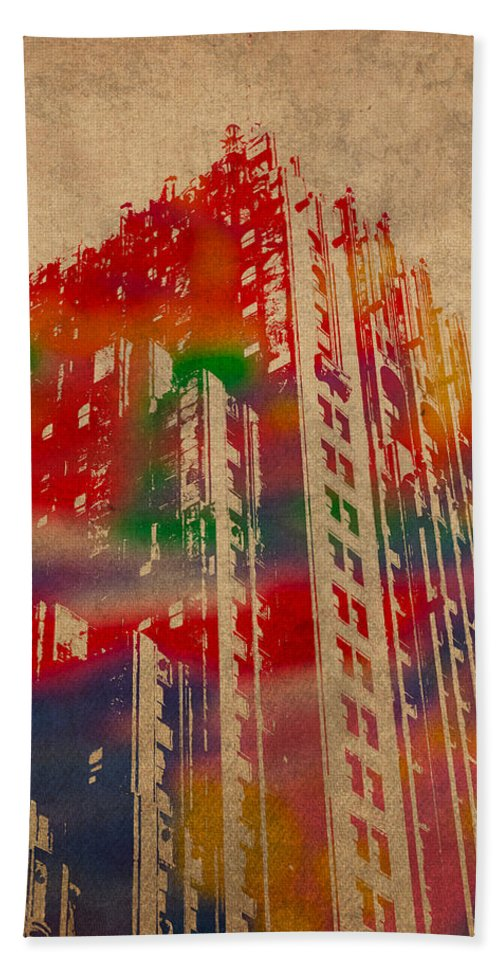 Fisher Bath Sheet featuring the mixed media Fisher Building Iconic Buildings Of Detroit Watercolor On Worn Canvas Series Number 4 by Design Turnpike