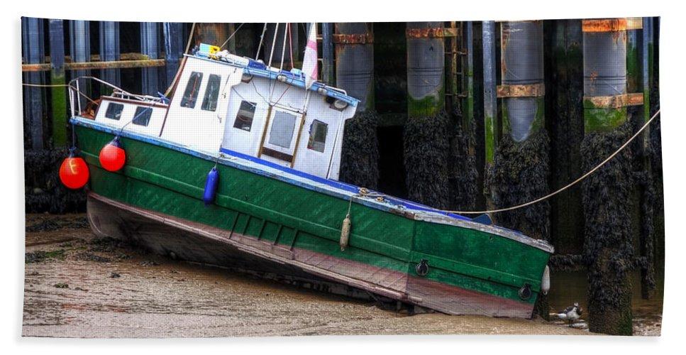 Anchored Bath Sheet featuring the photograph Fisherman Boat by Svetlana Sewell