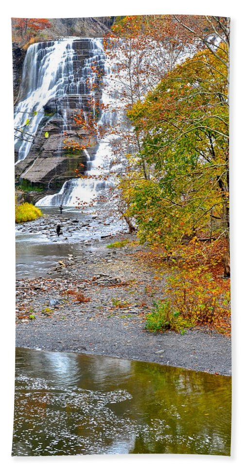 Fisherman Bath Sheet featuring the photograph Fisherman One With Nature by Frozen in Time Fine Art Photography