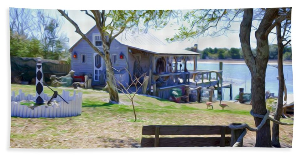 Swansboro Bath Sheet featuring the painting Fisherman's House 1 by Jeelan Clark
