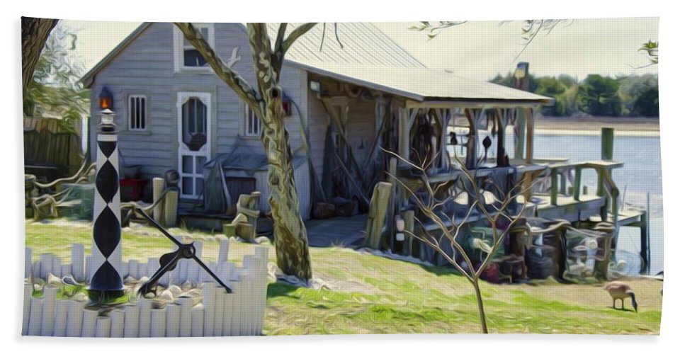 Swansboro Bath Sheet featuring the painting Fisherman's House 3 by Jeelan Clark