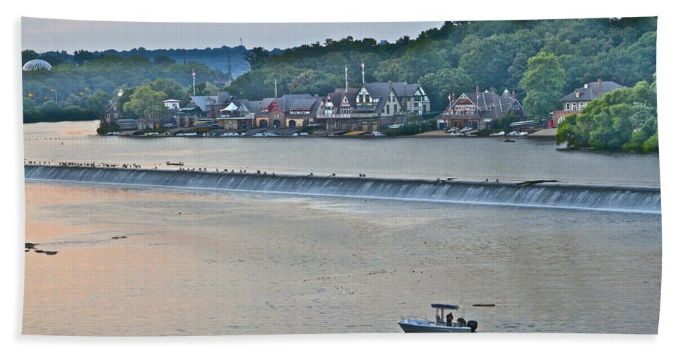 Boathouse Row Bath Sheet featuring the photograph Fishing At Boathouse Row by Alice Gipson