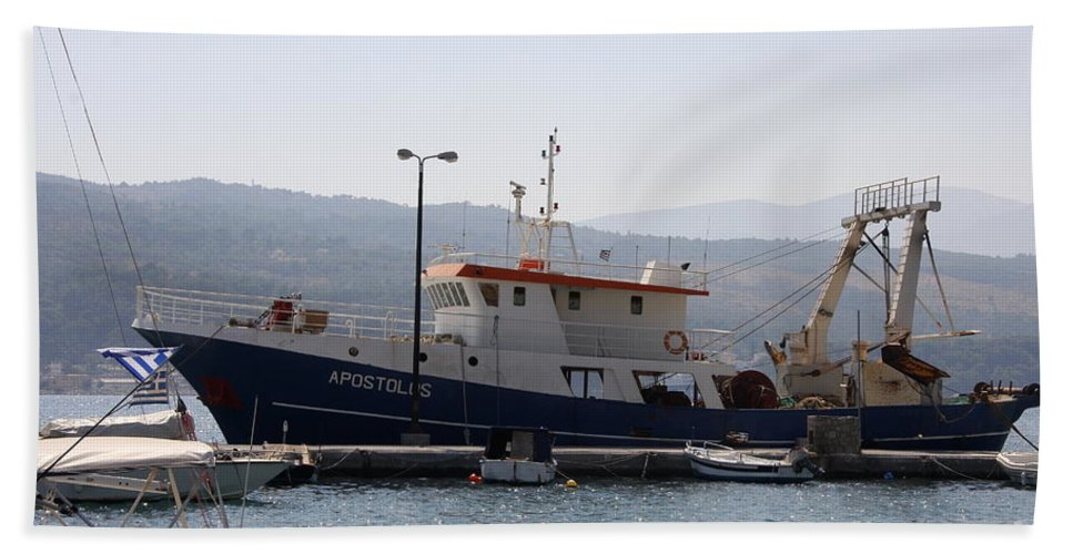 Boat Hand Towel featuring the photograph Fishing Boat Apostolos - Samos by Christiane Schulze Art And Photography