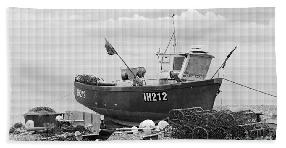 Fishing Boat Hand Towel featuring the photograph Fishing Boat by Julia Gavin