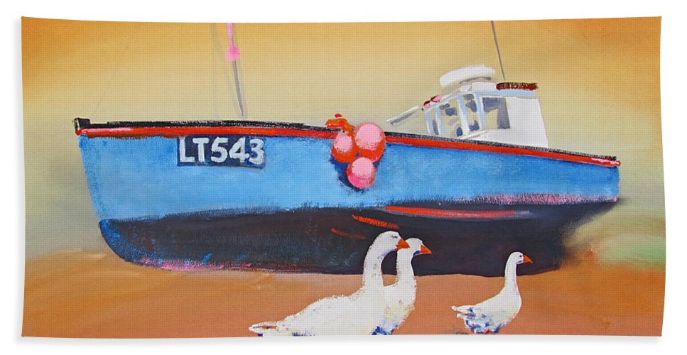 Geese Bath Towel featuring the painting Fishing Boat Walberswick With Geese by Charles Stuart