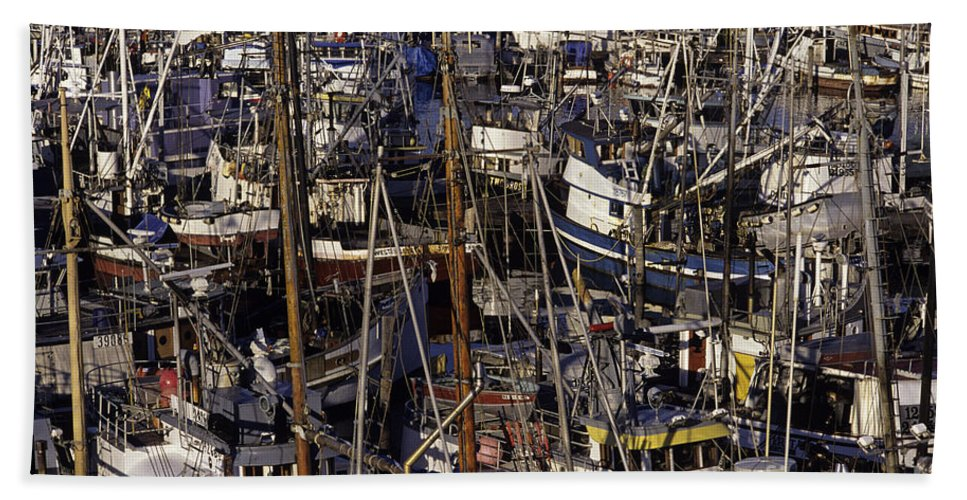 Travel Hand Towel featuring the photograph Fishing Boats At Fishermens Terminal by Jim Corwin