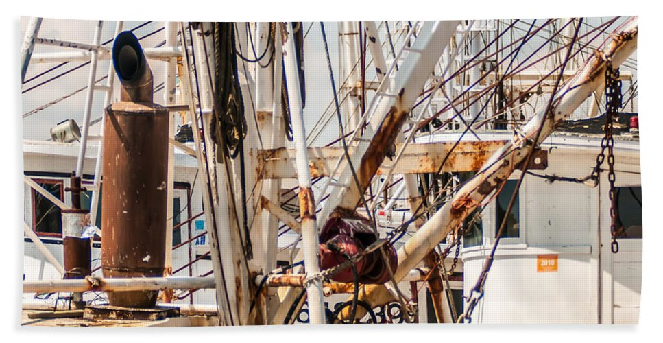 Fishing Hand Towel featuring the photograph Fishing Boats Equipment Chaos by Alex Grichenko