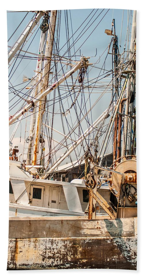 Fishing Hand Towel featuring the photograph Fishing Boats In Harbour by Alex Grichenko