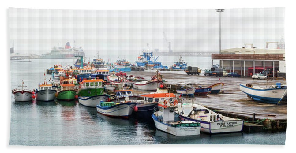 Photography Bath Sheet featuring the photograph Fishing Boats Moored At A Harbor, Ponta by Panoramic Images