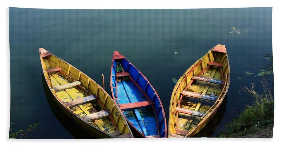 Nepal Hand Towel featuring the photograph Fishing Boats - Nepal by Aidan Moran