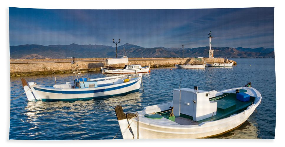 Peloponnese Hand Towel featuring the photograph fishing boats 'XIII by Milan Gonda