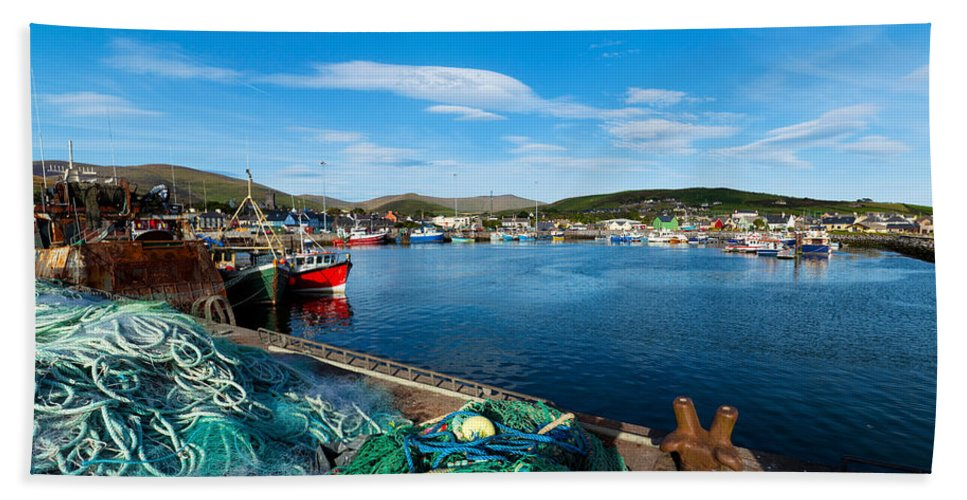 Photography Bath Towel featuring the photograph Fishing Harbor, Dingle Harbour, Dingle by Panoramic Images