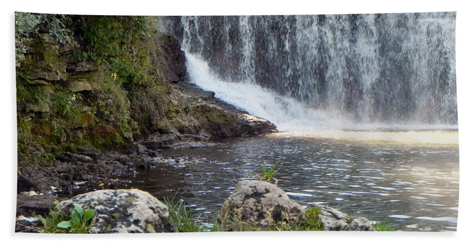 Waterfall Hand Towel featuring the photograph Fishing Hole by Deb Halloran