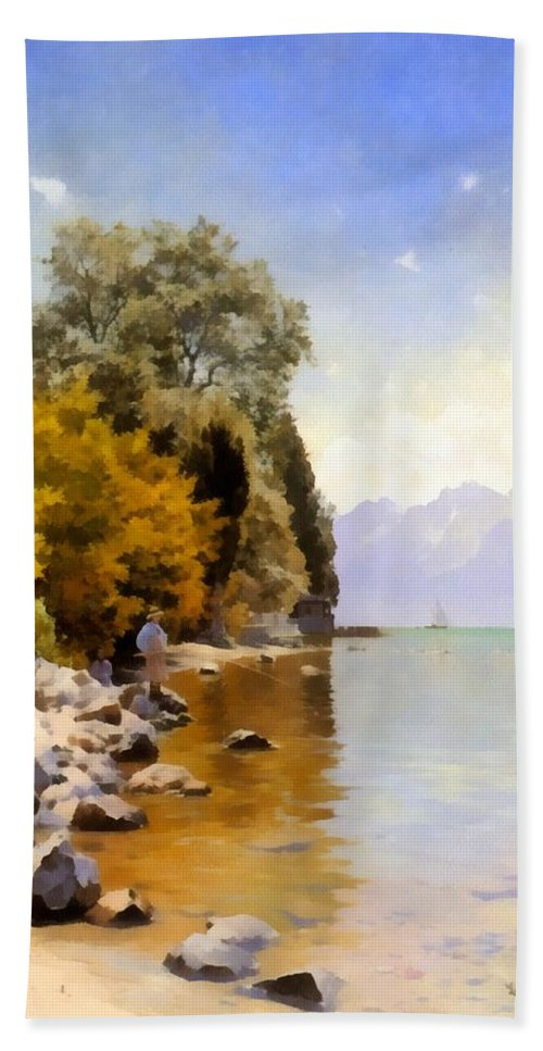 Peder Mork Monsted Bath Sheet featuring the digital art Fishing On Lac Leman by Peder Mork Monsted