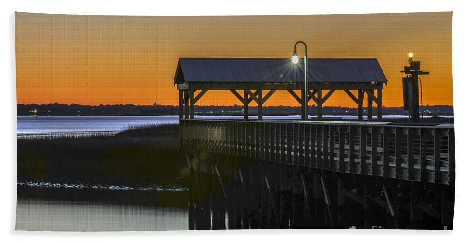 Dusk Hand Towel featuring the photograph Fishing Pier At Dusk by Dale Powell