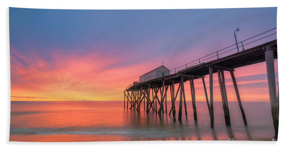 Fishing Pier Sunrise Hand Towel featuring the photograph Fishing Pier Sunrise by Michael Ver Sprill