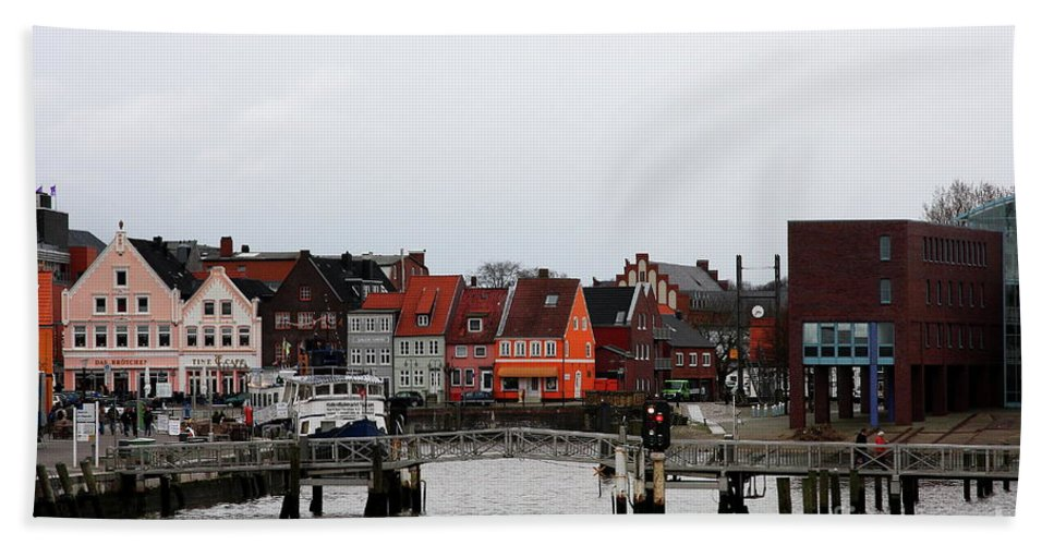 Husum Bath Sheet featuring the photograph Fishing Port Husum by Christiane Schulze Art And Photography