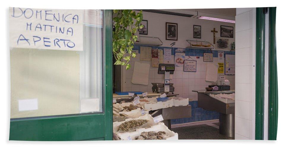 Fishing Shop Bath Sheet featuring the photograph Fishing Shop by Mats Silvan
