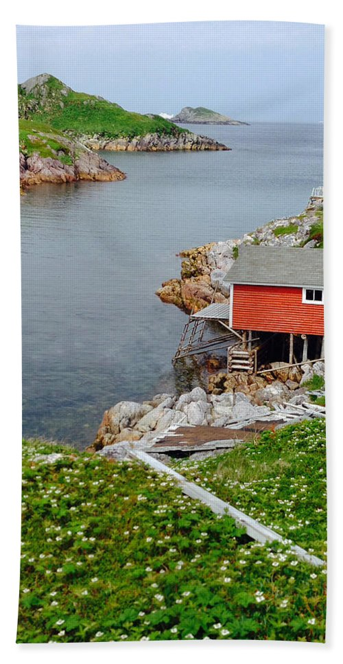 Fishing Stage Little Fogo Island Newfoundland Hand Towel featuring the photograph Fishing Stage Little Fogo Island Newfoundland by Lisa Phillips