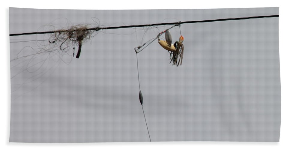 Fishing Hand Towel featuring the photograph Fishing Tackle Hangup by Wayne Williams